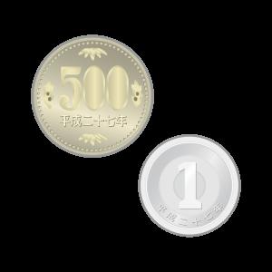 500円と1円